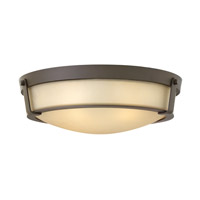 Hinkley Lighting Hathaway 4 Light Flush Mount in Olde Bronze with Etched Amber Glass 3226OB-GU24