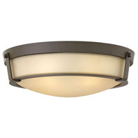 Hinkley Lighting Hathaway 1 Light Flush Mount in Olde Bronze with Etched Amber Glass 3226OB-LED