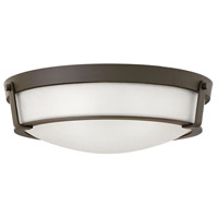Hinkley 3226OB-WH-LED Hathaway 1 Light 21 inch Olde Bronze Flush Mount Ceiling Light in Etched, LED, Etched Glass