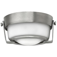 Hathaway LED 7 inch Antique Nickel Foyer Flush Mount Ceiling Light in Etched Opal
