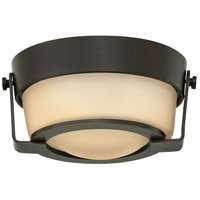 Hinkley 3228OB Hathaway LED 7 inch Olde Bronze Foyer Flush Mount Ceiling Light in Etched Amber Dry Rated