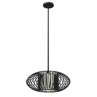 Vibe 1 Light 19 inch Black Mini-Pendant Ceiling Light in LED, Etched Opal Glass