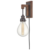 Denton 1 Light 5 inch Industrial Iron with Vintage Walnut Accents Wall Sconce Wall Light