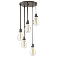 Hinkley 3265IN Denton 5 Light 16 inch Industrial Iron Chandelier Ceiling Light
