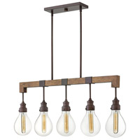Denton 5 Light 36 inch Industrial Iron Linear Chandelier Ceiling Light