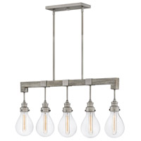 Hinkley 3266PW Denton 5 Light 36 inch Pewter Linear Chandelier Ceiling Light, Stem Hung