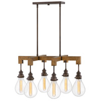 Hinkley 3268IN Denton 6 Light 30 inch Industrial Iron Linear Chandelier Ceiling Light, Stem Hung photo thumbnail