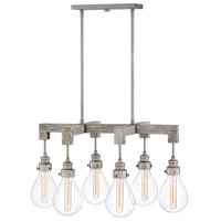 Denton 6 Light 30 inch Pewter Linear Chandelier Ceiling Light, Stem Hung