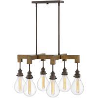 Hinkley 3268IN Denton 6 Light 30 inch Industrial Iron/Vintage Walnut Chandelier Ceiling Light