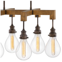 Hinkley 3268IN Denton 6 Light 30 inch Industrial Iron Linear Chandelier Ceiling Light, Stem Hung alternative photo thumbnail