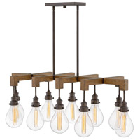 Denton 10 Light 49 inch Industrial Iron Linear Chandelier Ceiling Light, Stem Hung