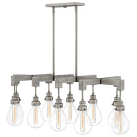 Denton 10 Light 49 inch Pewter Linear Chandelier Ceiling Light, Stem Hung