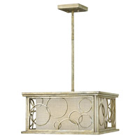 Flourish 3 Light 18 inch Silver Leaf Chandelier Ceiling Light, Metallic Linen Shade