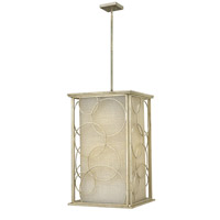 Flourish 6 Light 20 inch Silver Leaf Foyer Ceiling Light, Metallic Linen Shade