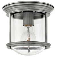 Hinkley 3300AN-CL Hadley 1 Light 8 inch Antique Nickel Foyer Flush Mount Ceiling Light in Clear Seedy