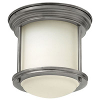 Hadley 1 Light 8 inch Antique Nickel Flush Mount Ceiling Light in Incandescent, Etched Opal Glass