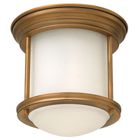 Hadley 1 Light 8 inch Brushed Bronze Foyer Flush Mount Ceiling Light in Etched Opal, Etched Opal Glass