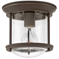 Hinkley 3300OZ-CL Hadley 1 Light 8 inch Oil Rubbed Bronze Foyer Flush Mount Ceiling Light in Clear Seedy