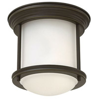 Hadley 1 Light 8 inch Oil Rubbed Bronze Foyer Flush Mount Ceiling Light in Incandescent, Etched Opal Glass