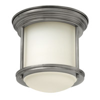 Hinkley Lighting Hadley 1 Light Flush Mount in Antique Nickel with Etched Opal Glass 3300AN-GU24
