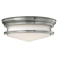 Hadley 3 Light 14 inch Antique Nickel Flush Mount Ceiling Light in Incandescent, Etched Opal Glass
