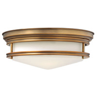 Hadley 3 Light 14 inch Brushed Bronze Foyer Flush Mount Ceiling Light in Incandescent, Etched Opal Glass