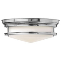Hinkley 3301CM Hadley 3 Light 14 inch Chrome Flush Mount Ceiling Light in Incandescent, Etched Opal Glass