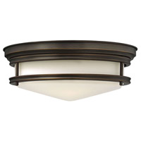 Hadley 3 Light 14 inch Oil Rubbed Bronze Foyer Flush Mount Ceiling Light in Incandescent, Etched Opal Glass