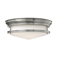 Hadley 3 Light 14 inch Antique Nickel Flush Mount Ceiling Light in GU24, Etched Opal Glass