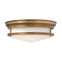 Hadley 3 Light 14 inch Brushed Bronze Flush Mount Ceiling Light in GU24, Etched Opal Glass