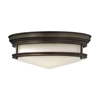 Hadley 3 Light 14 inch Oil Rubbed Bronze Flush Mount Ceiling Light in GU24, Etched Opal Glass