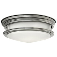 Hadley 2 Light 12 inch Antique Nickel Flush Mount Ceiling Light in Incandescent, Etched Opal Glass