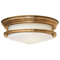 Hadley LED 12 inch Brushed Bronze Foyer Flush Mount Ceiling Light in Etched Opal