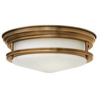 Hadley 2 Light 12 inch Brushed Bronze Foyer Flush Mount Ceiling Light in Incandescent, Etched Opal Glass