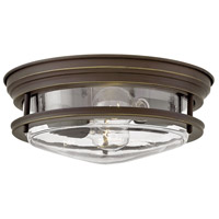 Hinkley 3302OZ-CL Hadley 2 Light 12 inch Oil Rubbed Bronze Foyer Flush Mount Ceiling Light in Incandescent, Clear Seedy