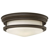 Hadley LED 12 inch Oil Rubbed Bronze Foyer Flush Mount Ceiling Light in Etched Opal