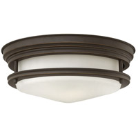 Hadley 2 Light 12 inch Oil Rubbed Bronze Foyer Flush Mount Ceiling Light in Incandescent, Etched Opal Glass
