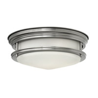 Hadley 2 Light 12 inch Antique Nickel Flush Mount Ceiling Light in GU24, Etched Opal Glass