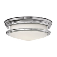Hinkley 3302CM-GU24 Hadley 2 Light 12 inch Chrome Flush Mount Ceiling Light in GU24, Etched Opal Glass