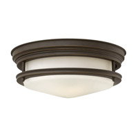 Hadley 2 Light 12 inch Oil Rubbed Bronze Flush Mount Ceiling Light in GU24, Etched Opal Glass