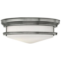 Hadley 4 Light 20 inch Antique Nickel Flush Mount Ceiling Light in Incandescent, Etched Opal Glass
