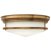 Hadley 4 Light 20 inch Brushed Bronze Foyer Flush Mount Ceiling Light in Incandescent, Etched Opal Glass