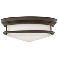 Hadley 4 Light 20 inch Oil Rubbed Bronze Foyer Flush Mount Ceiling Light in Incandescent, Etched Opal Glass