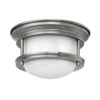 Hadley LED 8 inch Antique Nickel Foyer Flush Mount Ceiling Light, Etched Opal Glass