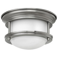 Hadley 1 Light 8 inch Antique Nickel Flush Mount Ceiling Light, Etched Opal Glass