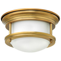 Hinkley 3308BR Hadley LED 8 inch Brushed Bronze Foyer Flush Mount Ceiling Light in Dry Rated, Etched Opal Glass