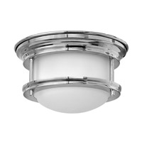 Hinkley 3308CM-QF Hadley 1 Light 8 inch Chrome Flush Mount Ceiling Light, Etched Opal Glass