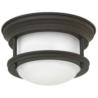 Hadley LED 8 inch Oil Rubbed Bronze Foyer Flush Mount Ceiling Light in Dry Rated, Etched Opal Glass