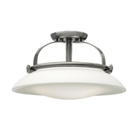 Hutton 3 Light 17 inch Brushed Nickel Semi Flush Ceiling Light, Opal Glass