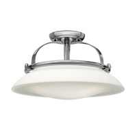 Hutton 3 Light 17 inch Chrome Semi Flush Ceiling Light, Opal Glass